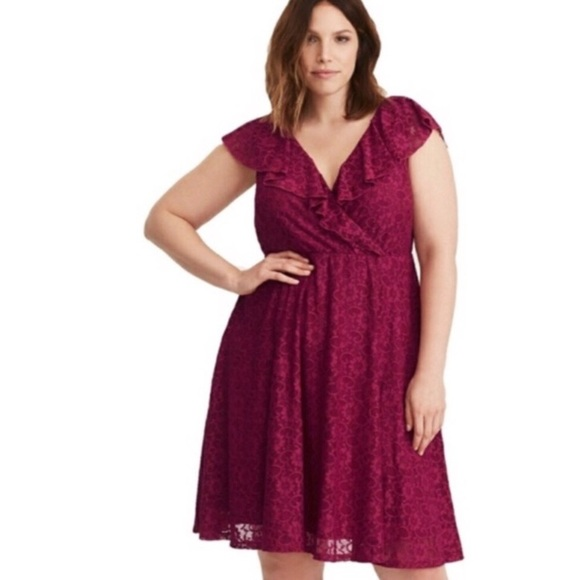 torrid Dresses & Skirts - Torrid Pink Lace Midi Skater Dress
